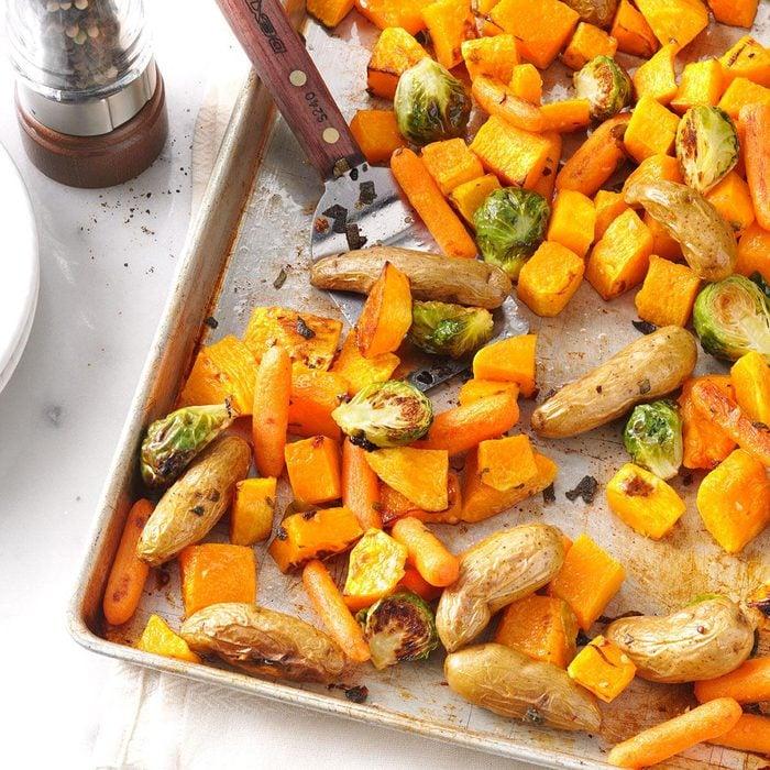 Roasted veggies on a baking sheet