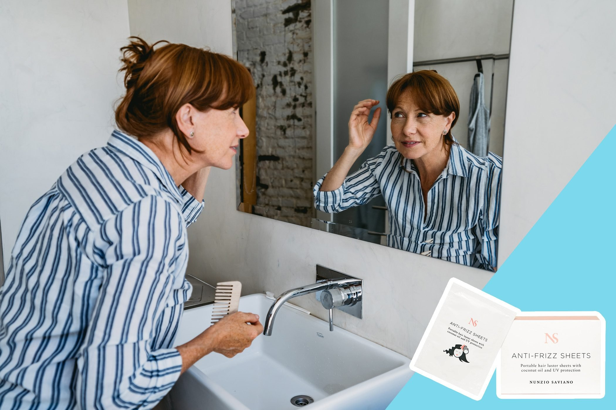 woman fixing her hair in the mirror with inset of hair frizz wipes to buy
