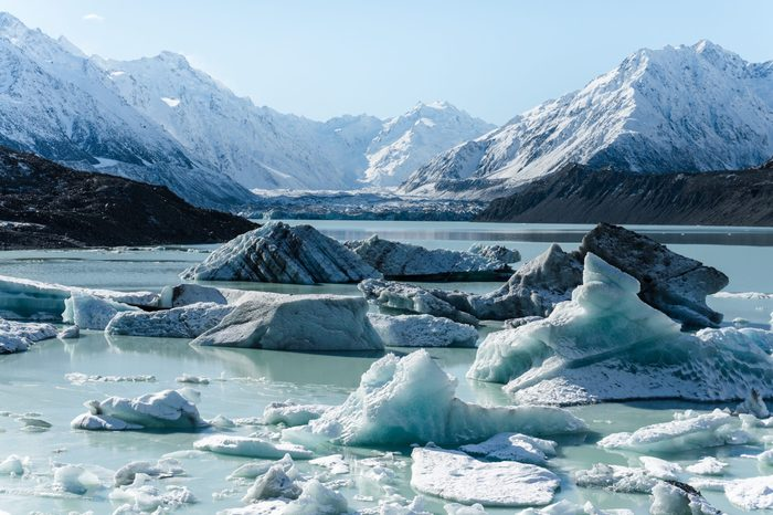 Tasman Glacier and lake with massive icebergs, Mount Cook National Park, New Zealand