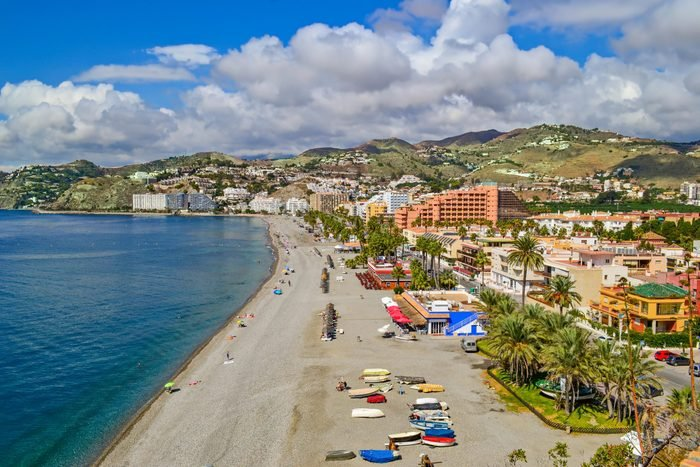 seen from the top of a viewpoint of the Almunecar beach, in the Peñones of San Cristobal, Almuñecar, Granada, Andalucia, Spain.