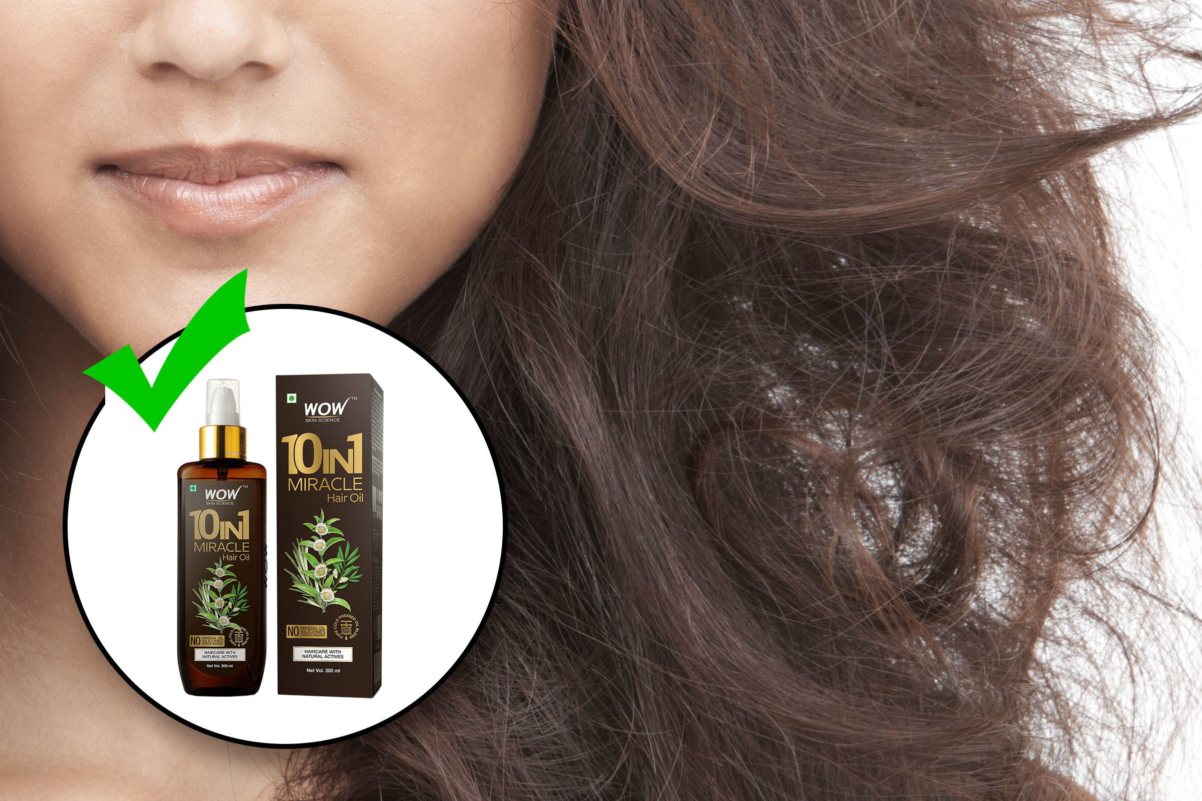womans hair flowing with inset of hair moisture product