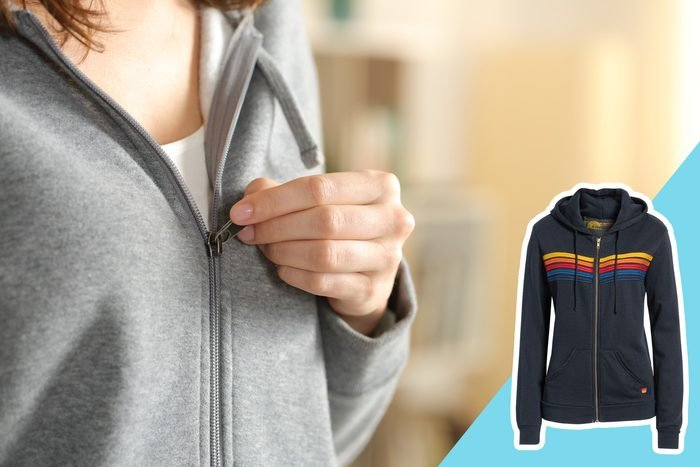 close up of a zip-up jacket, with inset of jacket to buy