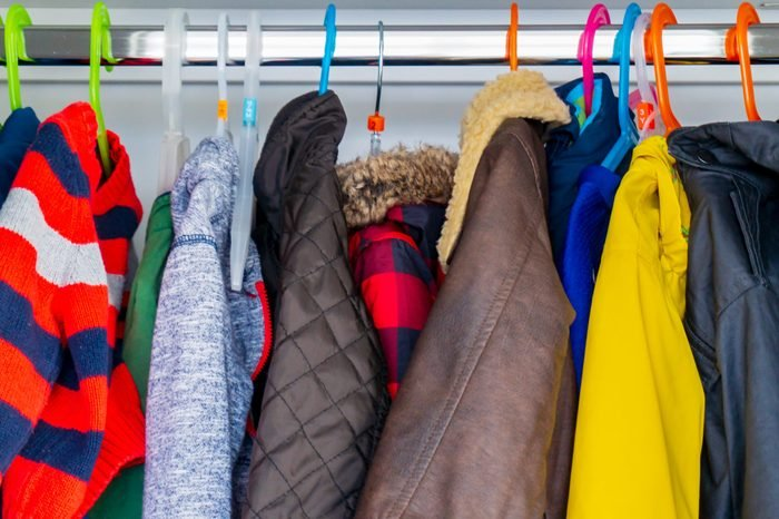 various jackets in a closet