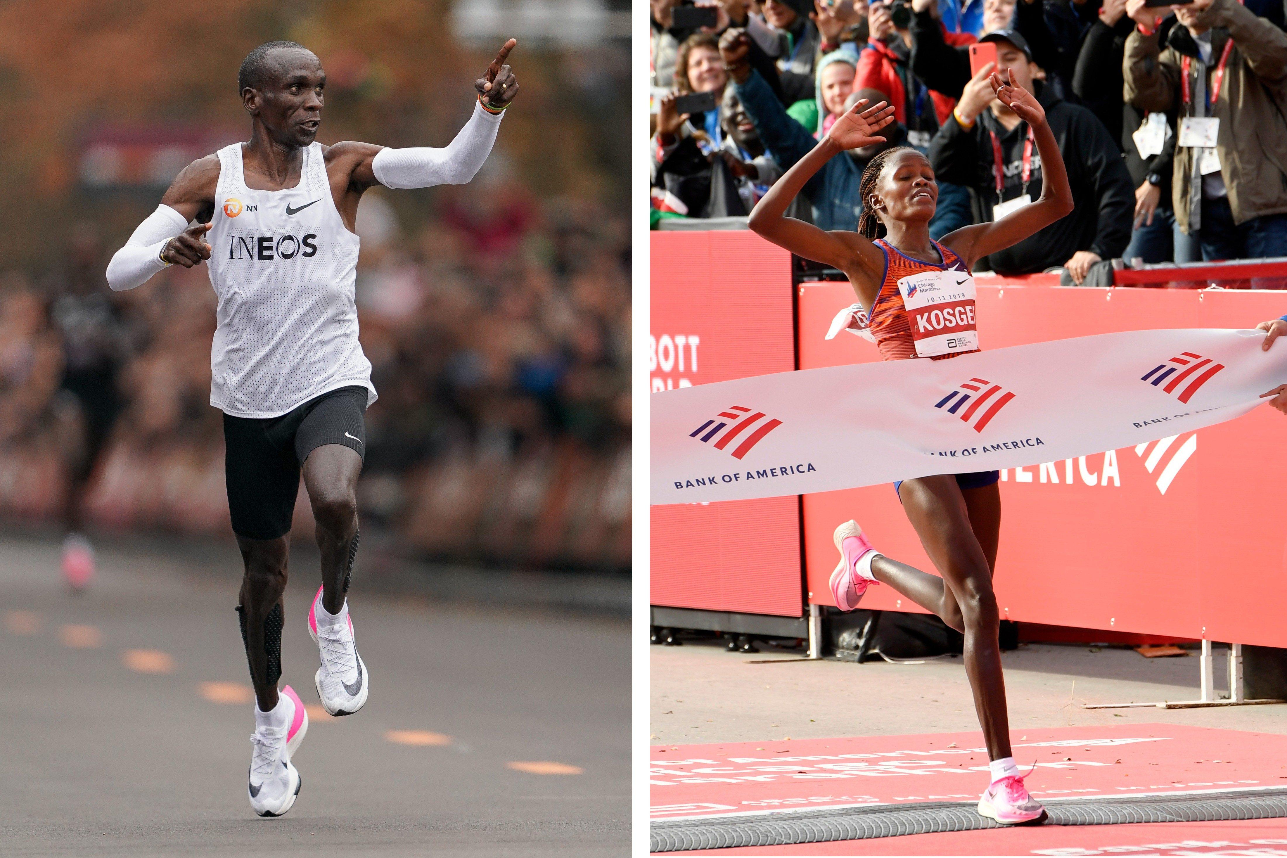 Mandatory Credit: Photo by Paul Beaty/AP/Shutterstock (10443079e) Brigid Kosgei of Kenya, wins the Women's Bank of America Chicago Marathon while setting a world record of 2:14:04, in Chicago Marathon, Chicago, USA - 13 Oct 2019