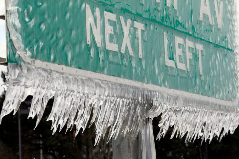 Icicles, formed by freezing rain and stiff winds