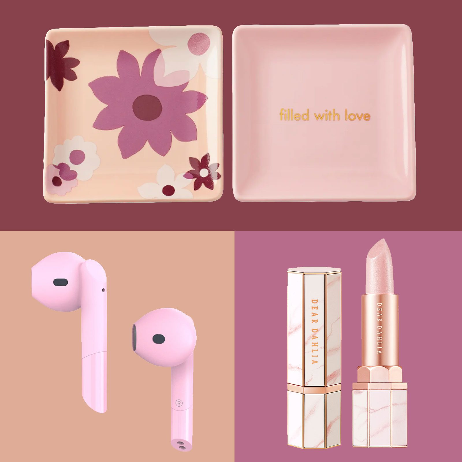 Three gifts, pink airpods, pink lipstick, and pink jewelry trays