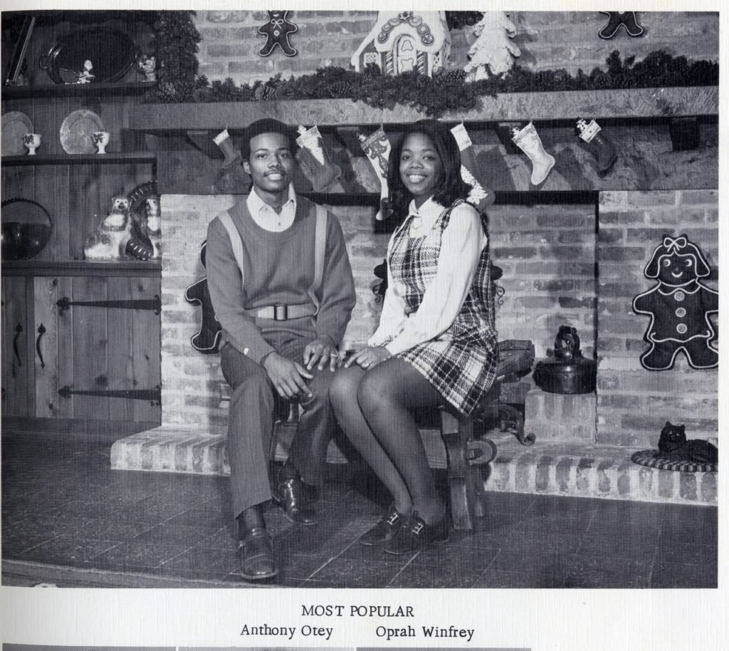 A young Oprah Winfrey and her fellow high school student Anthony Otey, who were named 'Most Popular' students at East Nashville High School in 1971
