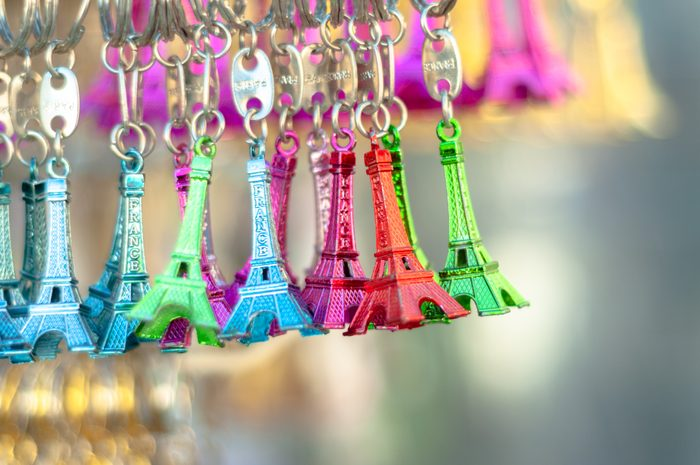Souvenir from Paris, France. Litlle Eiffel Towers for sale in different colours