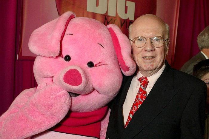 Piglet and John Fiedler (voice of Piglet) at 'PIGLET'S BIG MOVIE', WALT DISNEY FILM PREMIERE, LOS ANGELES, AMERICA - 16 MAR 2003