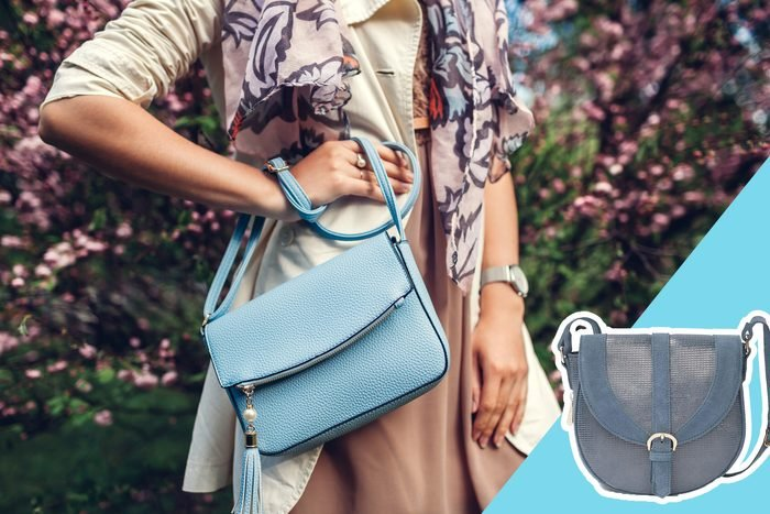 woman standing with blue purse, with inset of blue purse to buy