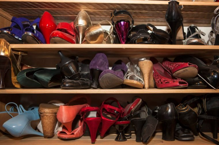 Shelves with women's shoes