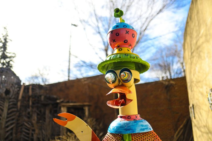 Baltimore, MD - January 27, 2018: A duck sculpture at the American Visionary Art Museum in Federal Hill, which specializes in the preservation and display of self-taught outsider art.