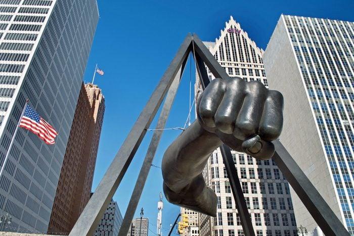 "DETROIT JANUARY 26, 2018 Monument to Joe Louis, ""The Fist"", in Hart Plaza Downtown Detroit, January 26, 2018, Downtown Detroit, Michigan USA"