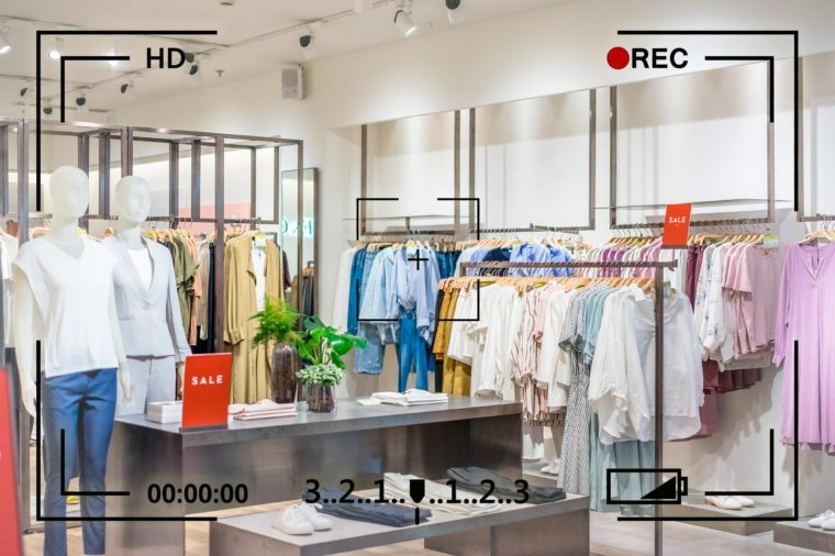 department store interior with camera info overlay