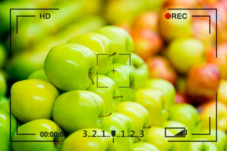 piles of apples with recording overlay