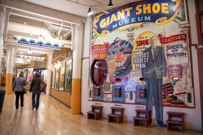 Seattle, Washington / USA - February 24 2015: Mural for the Giant Shoe Museum at Seattle's Pike Place Market