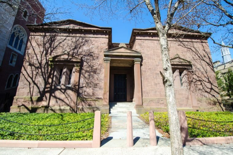 New Haven, Connecticut - April 1, 2018: Exterior of the Skull and Bones secret student society on the Yale University campus