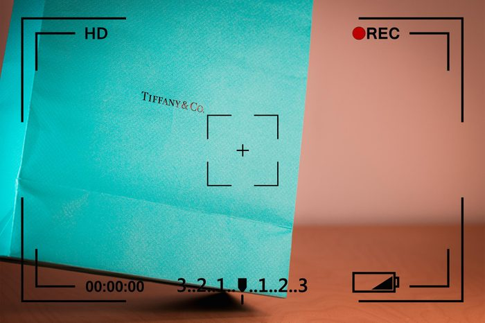 shopping bag from tiffany and co with camera info overlay