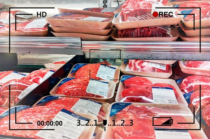 raw meat in the grocery store with camera info overlay