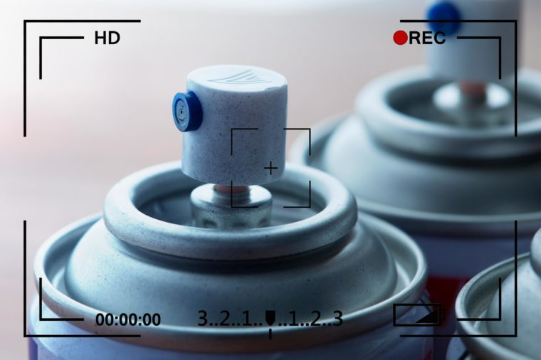 close up of spray nozzles with camera info overlay