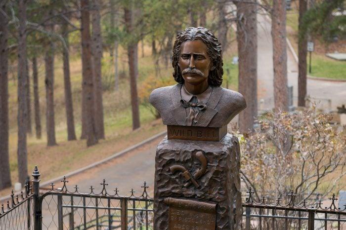 DEADWOOD, SOUTH DAKOTA - NOVEMBER 1: Grave site of Wild Bill Hickok at the Mount Moriah Cemetery on November 1, 2015 in Deadwood, South Dakota