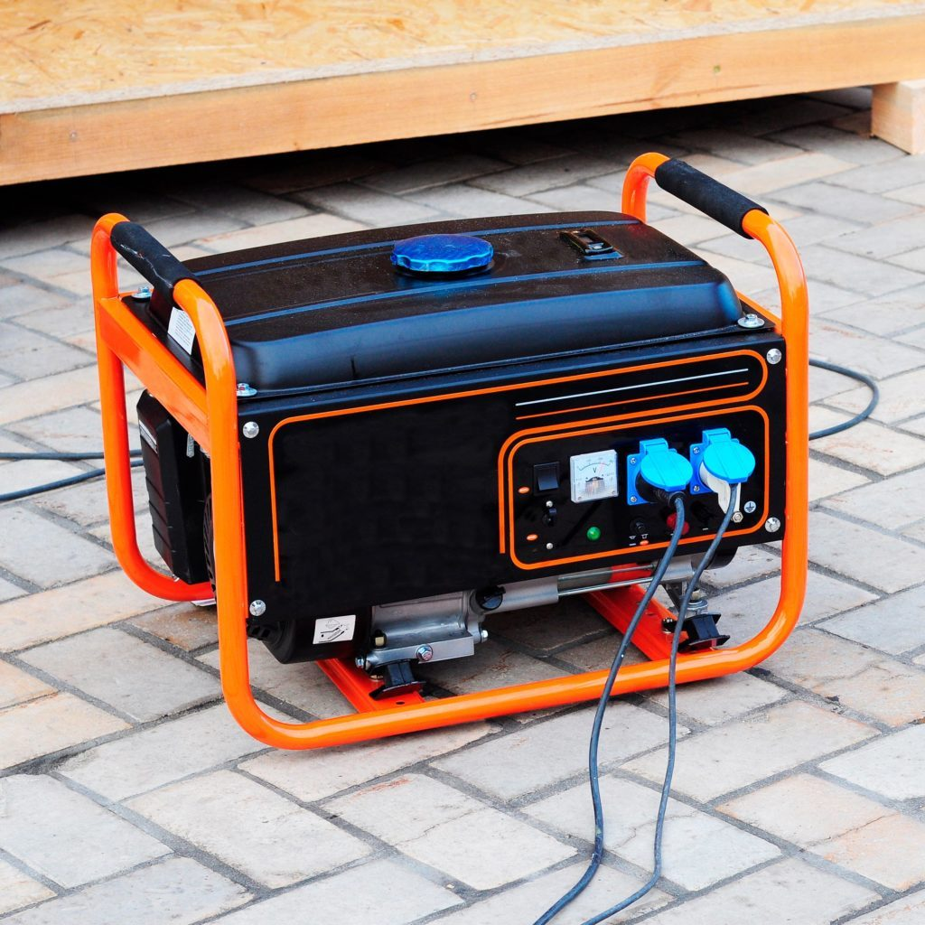 Mobile Gasoline Generator on the Building Site