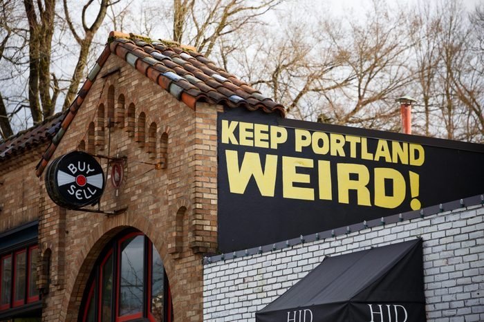 PORTLAND, OR - FEBRUARY 2, 2016: Keep Porltland Weird sign at a well known record store in downtown PDX.