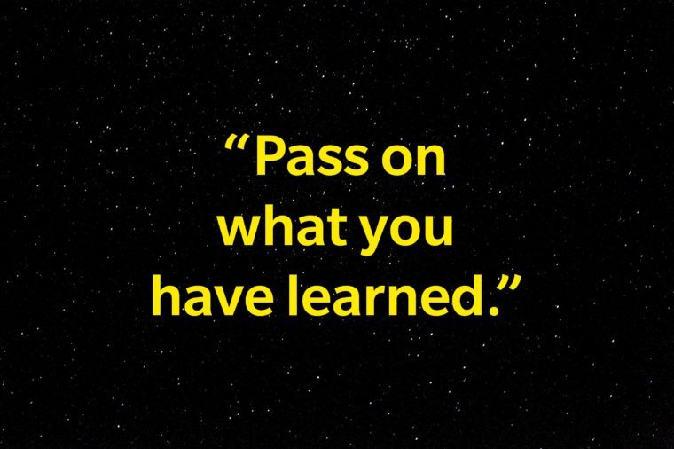 """""""Pass on what you have learned."""""""