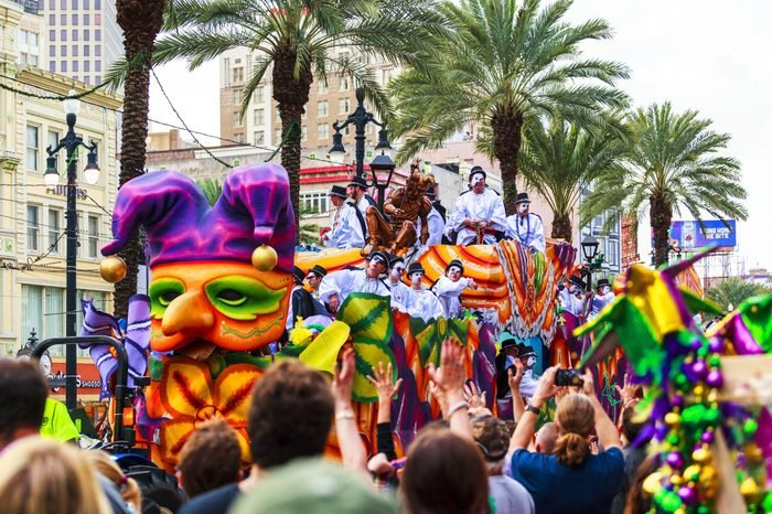 NEW ORLEANS USA FEB 1 2016: Mardi Gras parades through the streets of New Orleans.People celebrated crazily. Mardi Gras is the biggest celebration the city of New Orleans hosts every year.