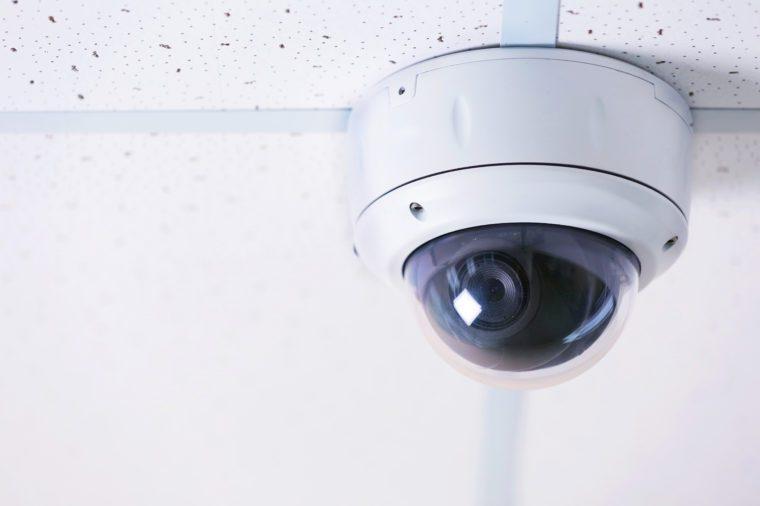Secure ceiling digital camera, close up