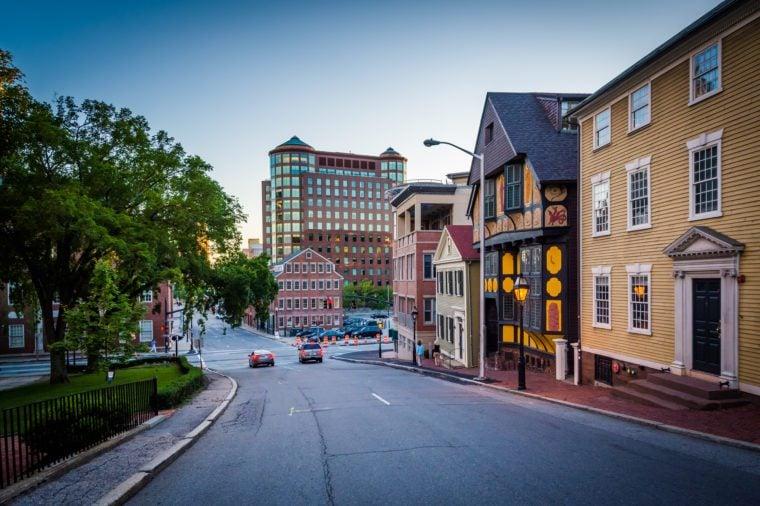 Buildings along Thomas Street, in Providence, Rhode Island.