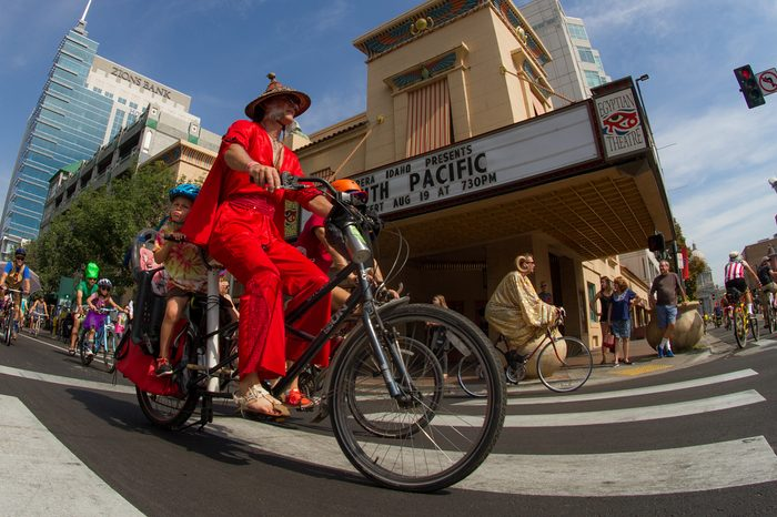 BOISE, IDAHO/USA - AUGUST 13, 2016: Fisheye view of a person in costume during the Tour De Fat parade in Boise, Idaho