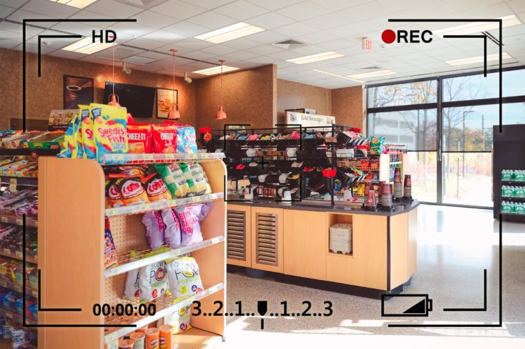gas station convenience store interior with camera info overlay