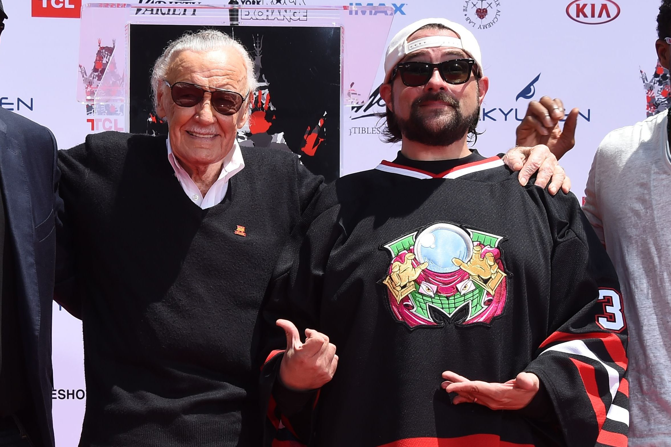 Mandatory Credit: Photo by Jim Smeal/Shutterstock (8965523ba) Todd McFarlane, Kevin Feige, Kevin Smith, Stan Lee and Chadwick Boseman Stan Lee hand and footprint ceremony, Los Angeles, USA - 18 Jul 2017