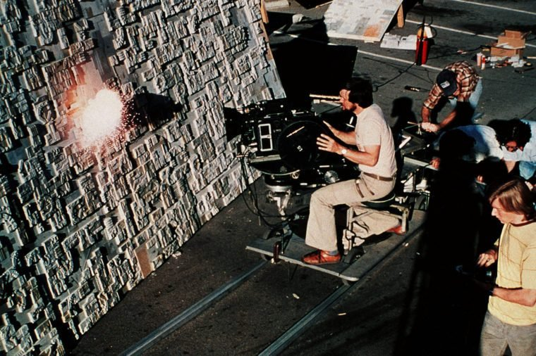 George Lucas behind the scenes on the set of Star Wars Episode IV - A New Hope - 1977