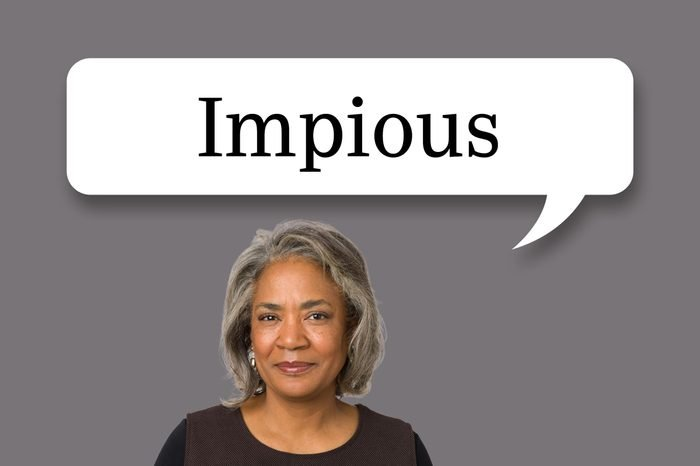 """woman with speech bubble """"impious"""""""