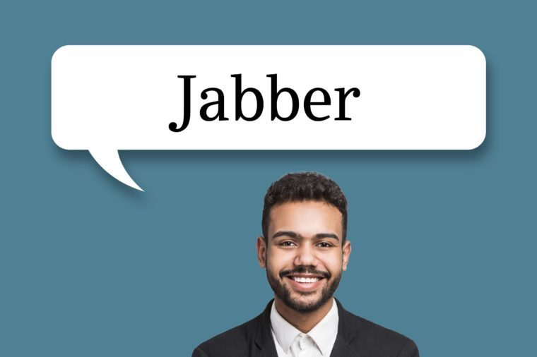 "man with speech bubble ""jabber"""