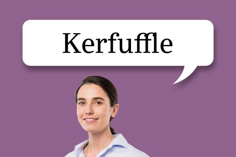 "woman with speech bubble ""kerfuffle"""