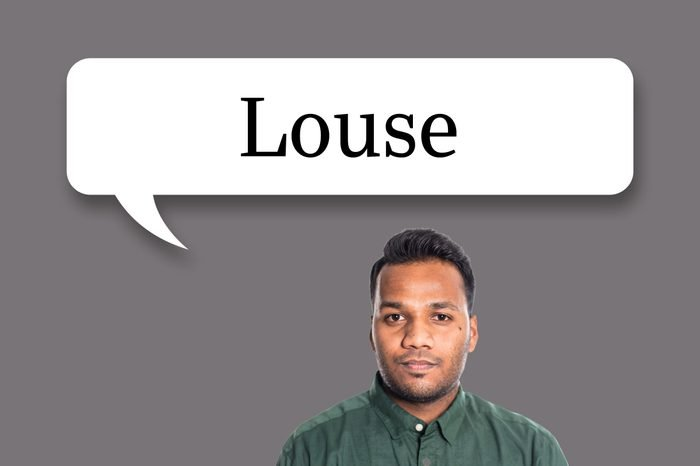 "man with speech bubble ""louse"""