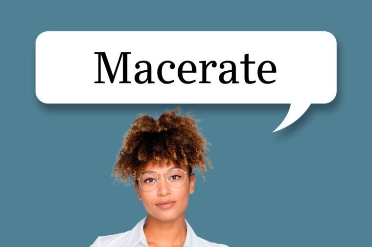 "woman with speech bubble ""macerate"""