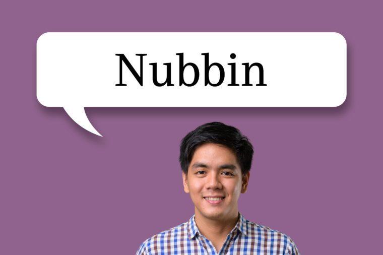 """man with speech bubble """"nubbin"""""""