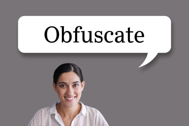 "woman with speech bubble ""obfuscate"""