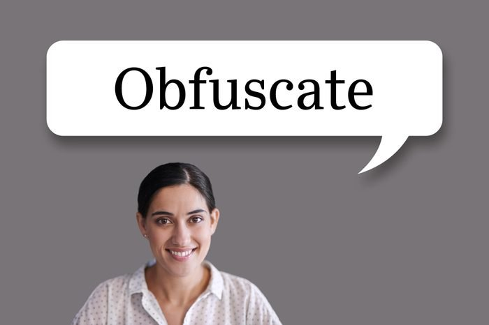 """woman with speech bubble """"obfuscate"""""""