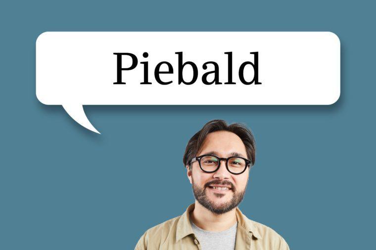"man with speech bubble ""piebald"""