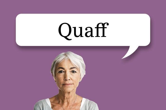 "woman with speech bubble ""quaff"""