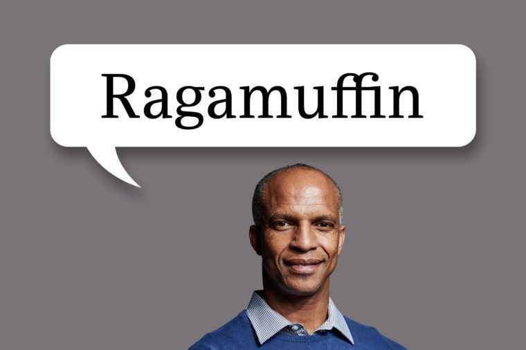 "man with speech bubble ""ragamuffin"""