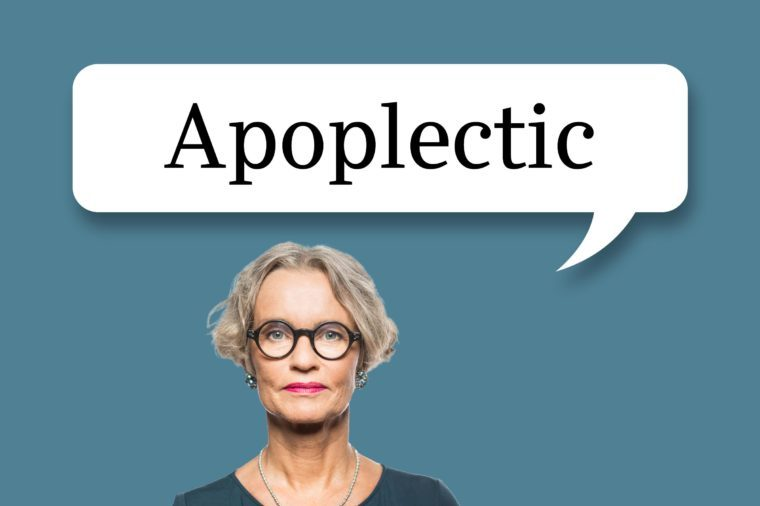 "woman with speech bubble ""apaplectic"""