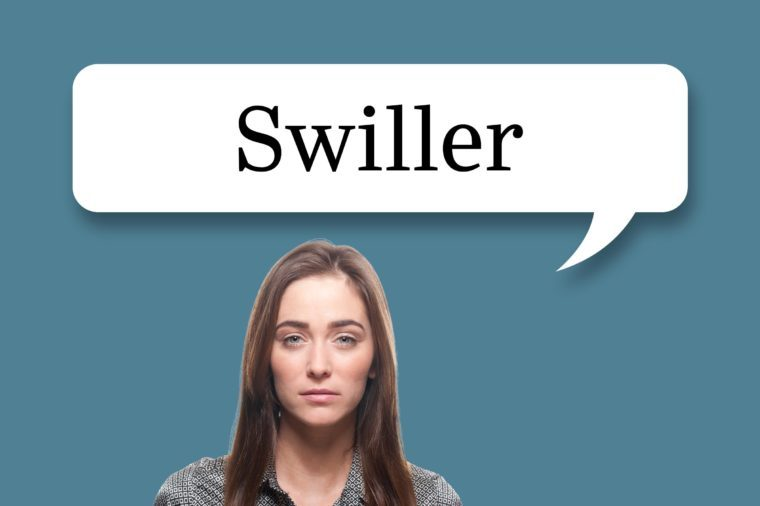 "woman with speech bubble ""swiller"""