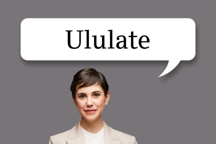 "woman with speech bubble ""ululate"""