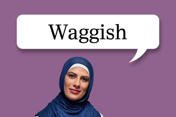 "woman with speech bubble ""waggish"""